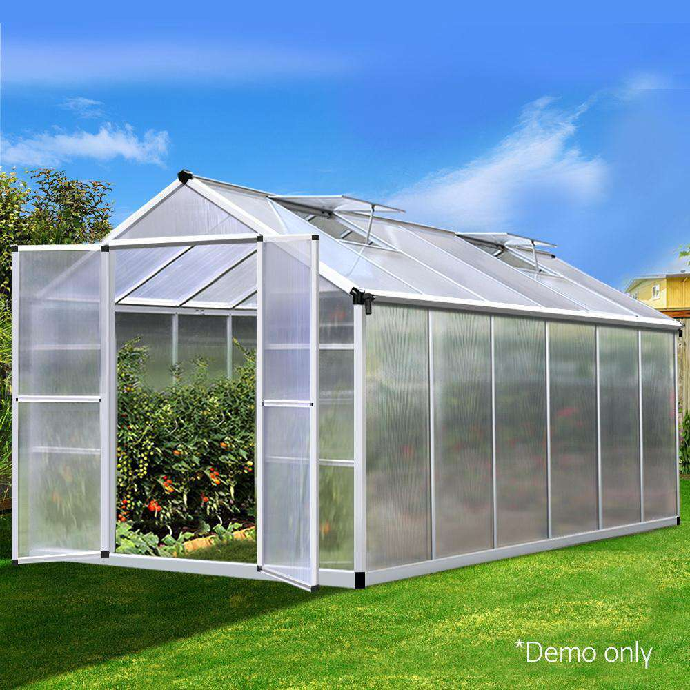 Green Fingers 3.7 x 2.5m Polycarbonate Aluminium Greenhouse