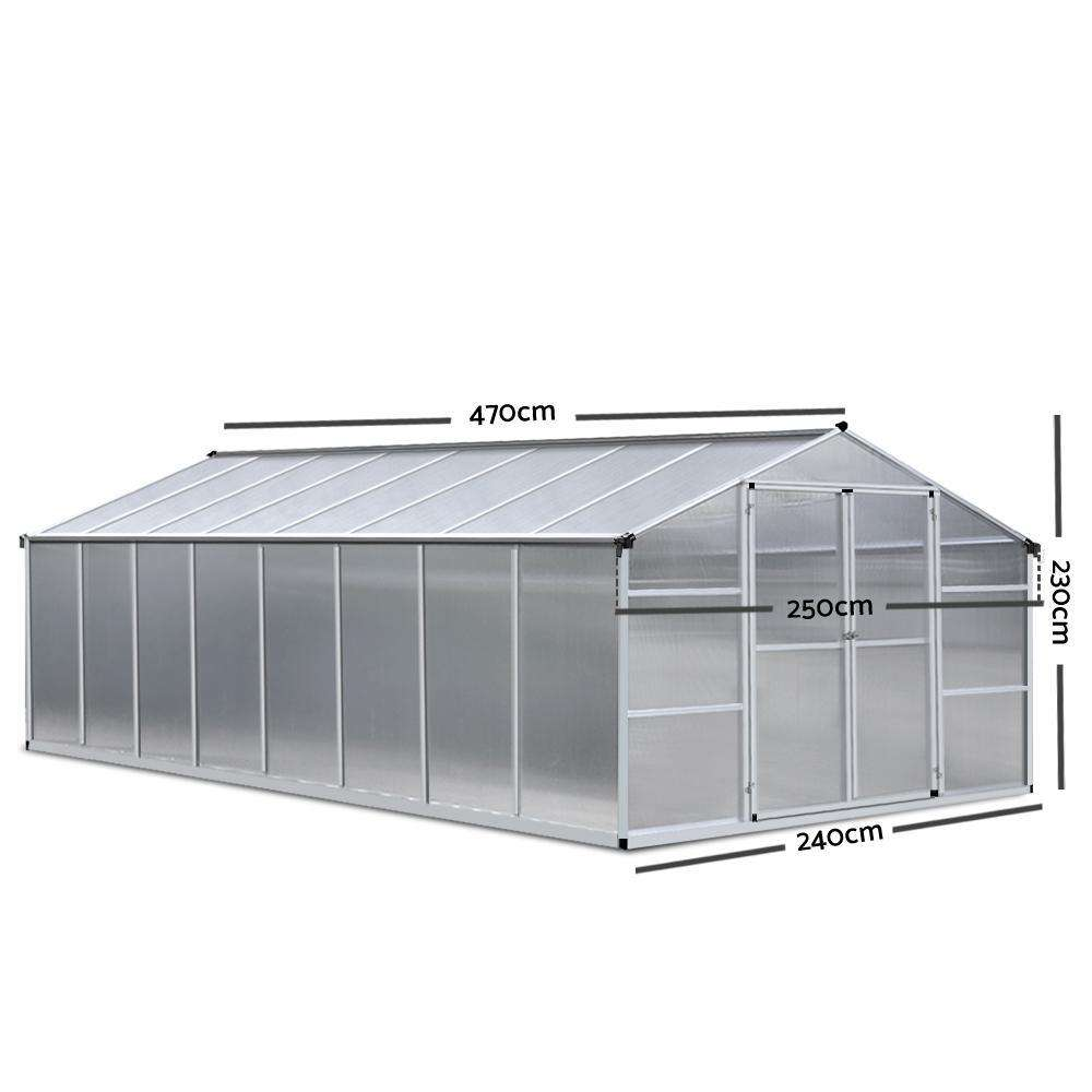 Green Fingers 4.7 x 2.5m Polycarbonate Aluminium Greenhouse