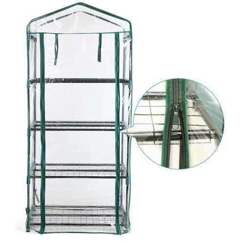 4 Shelf Greenhouse with Transparent PVC Cover - Desirable Home Living