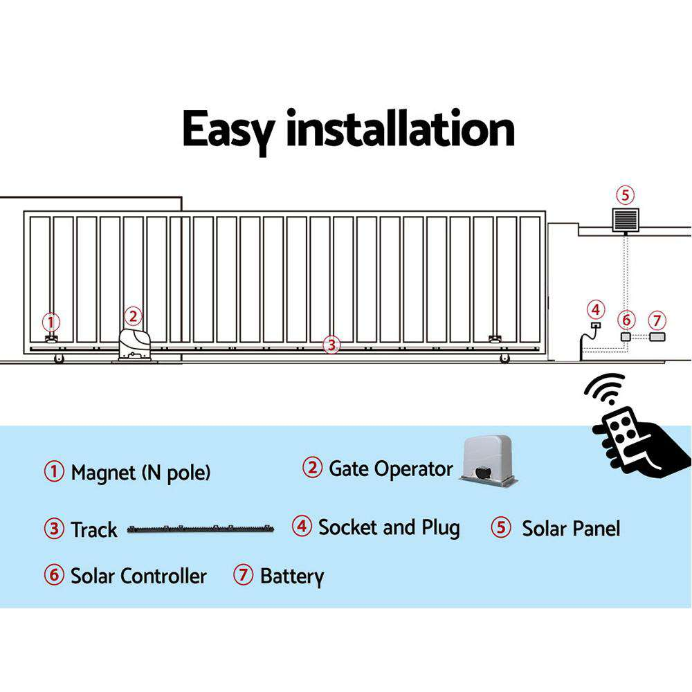 LockMaster Solar Powered Electric Sliding Gate Opener 1200kg 6M Remote Control