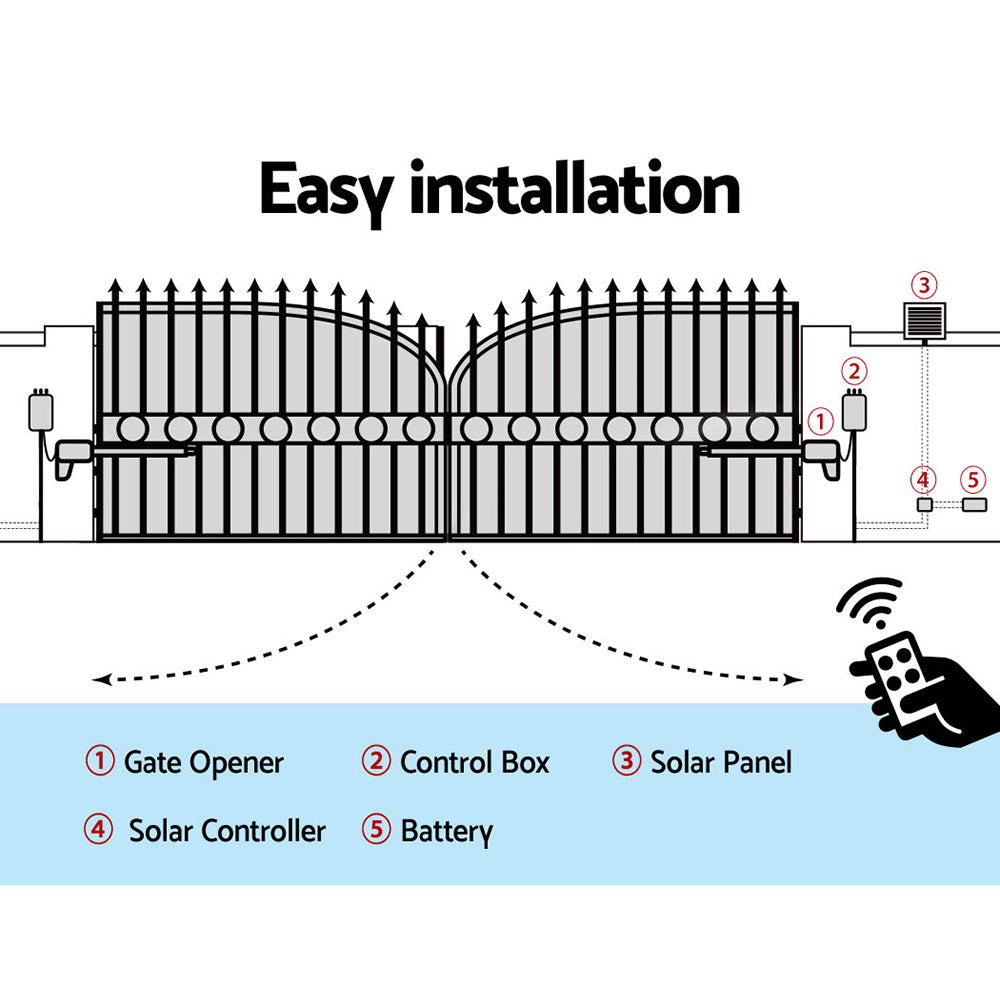 LockMaster Swing Gate Opener Auto Double 40W Solar Power Remote Control 1200KG