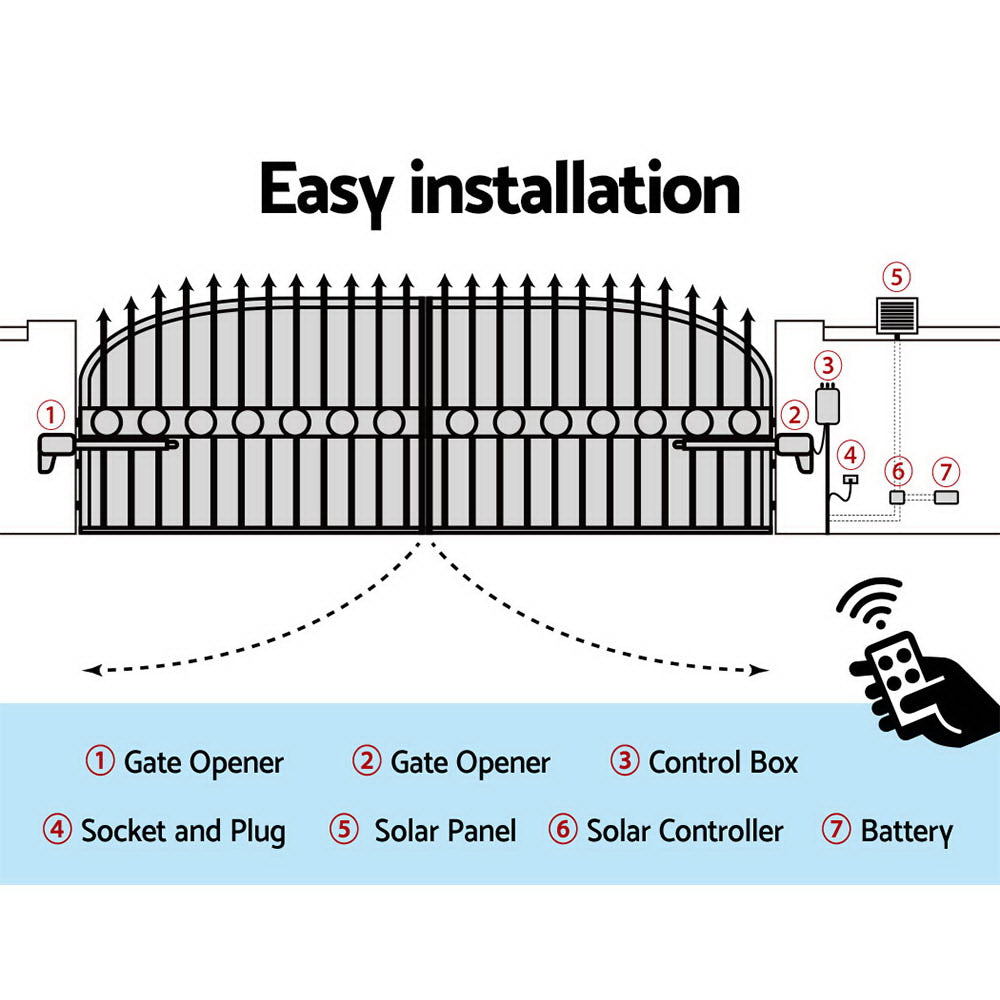 LockMaster 40W Solar Power Swing Gate Opener Auto Electric Remote Control 1000KG