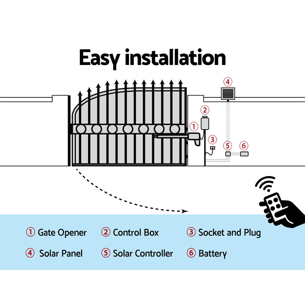 LockMaster Swing Gate Opener 40W Auto Solar Power Electric Remote Control 600KG