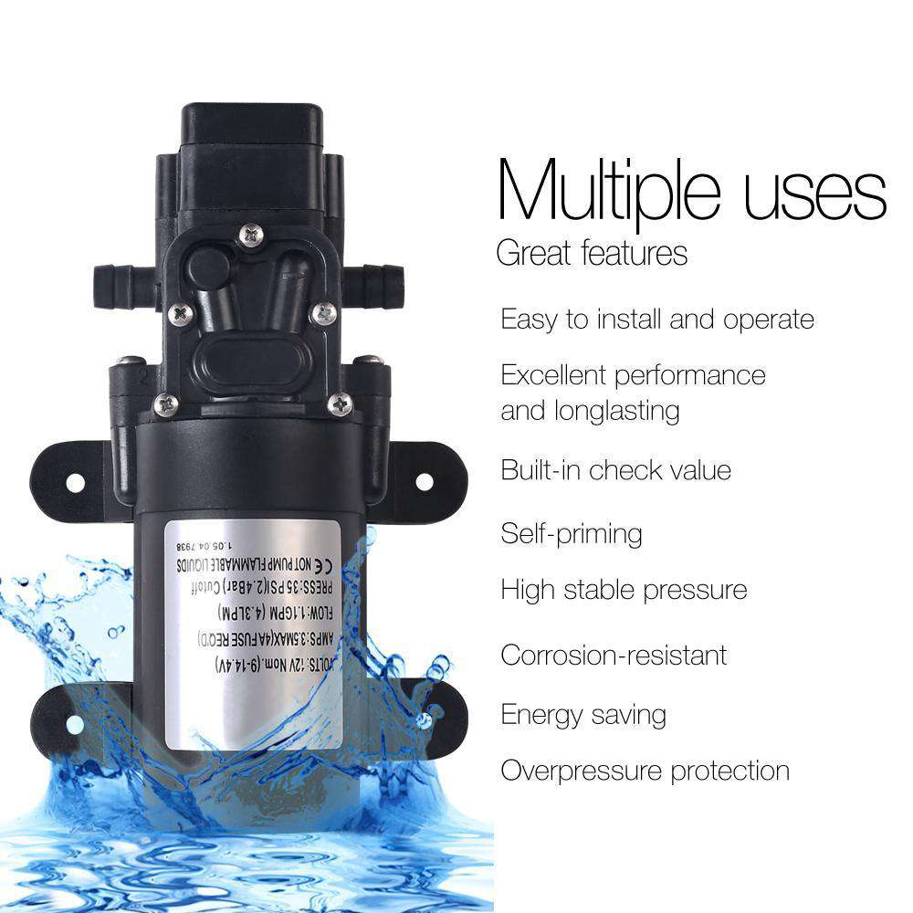 12V Water Pump Black - Desirable Home Living