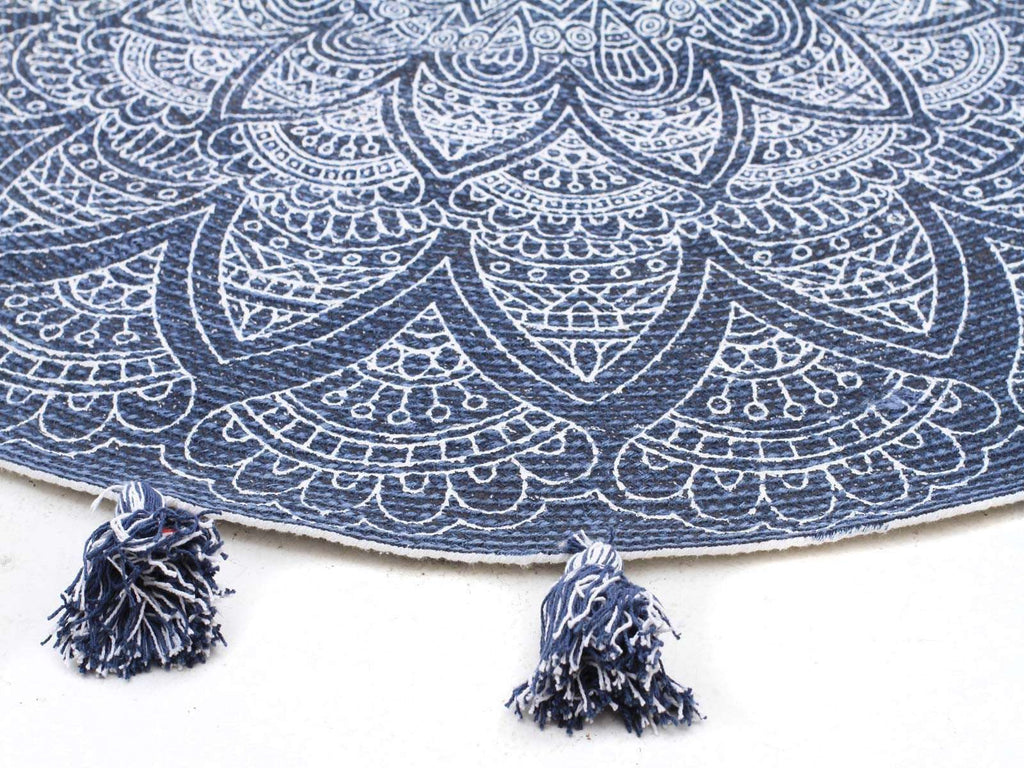 Gypsy Blueberry Cotton Printed Braided Round Blue Rug