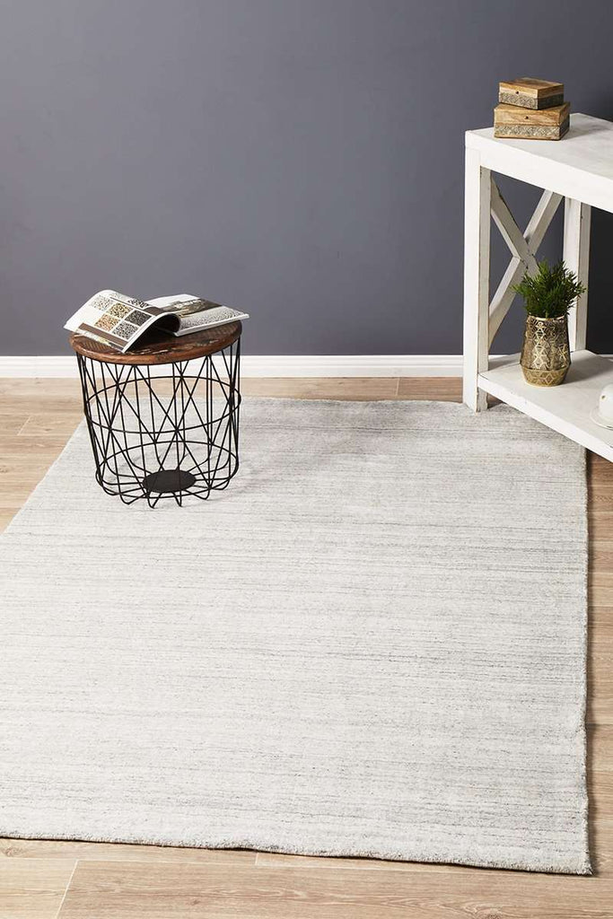 Havana Wool & Silky Viscose Light Grey Rug