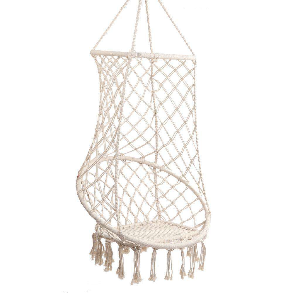 Gardeon Hanging Hammock Chair Swing Tassel Cream