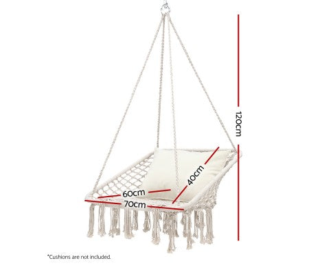 Gardeon Hammock Chair Outdoor Hanging Rope Swing Cream