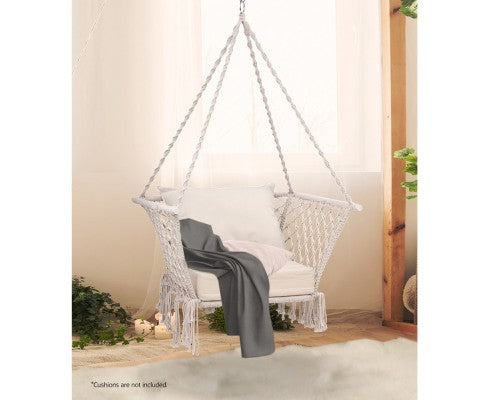 Gardeon Camping Hammock Chair Patio Swing Hammocks Portable Cotton Rope Cream