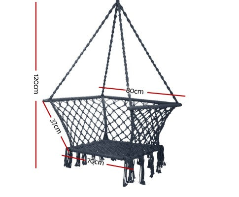 Gardeon Camping Hammock Chair Patio Swing Hammocks Portable Cotton Rope Grey