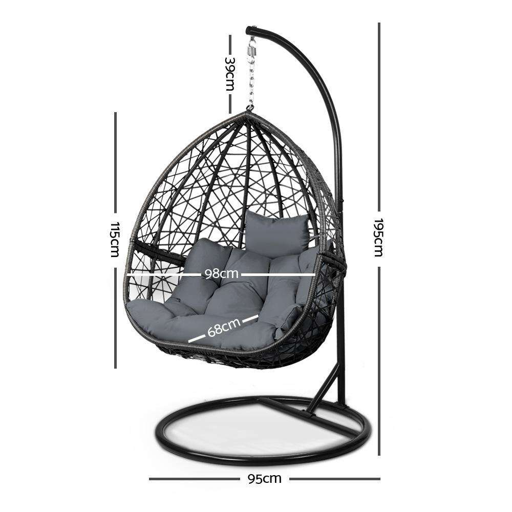 Gardeon Outdoor Hanging Swing Chair - Black