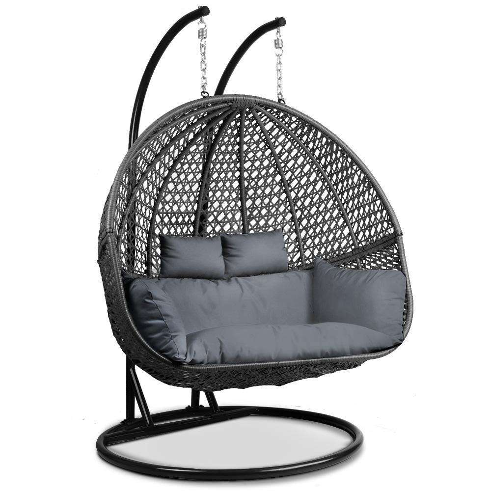 Gardeon Outdoor Double Hanging Swing Chair - Black