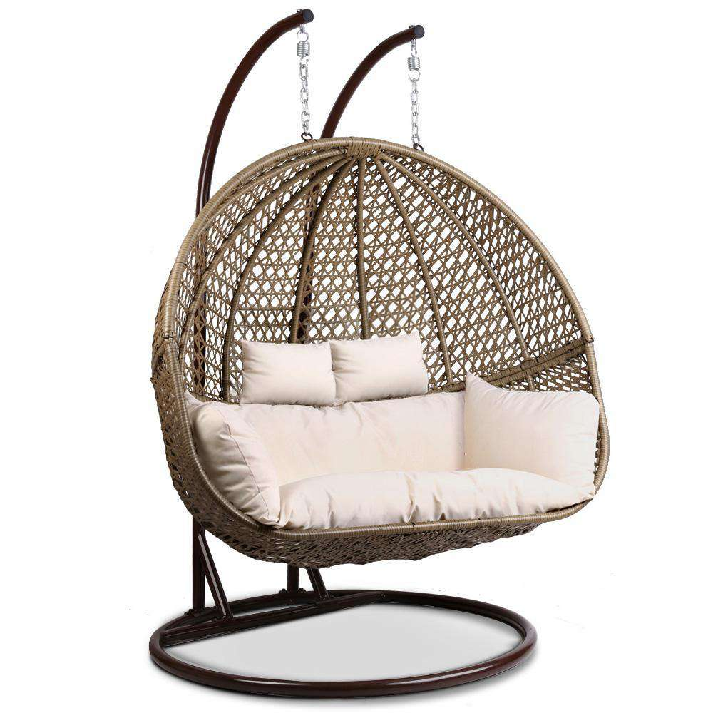 Gardeon Outdoor Double Hanging Swing Chair - Brown