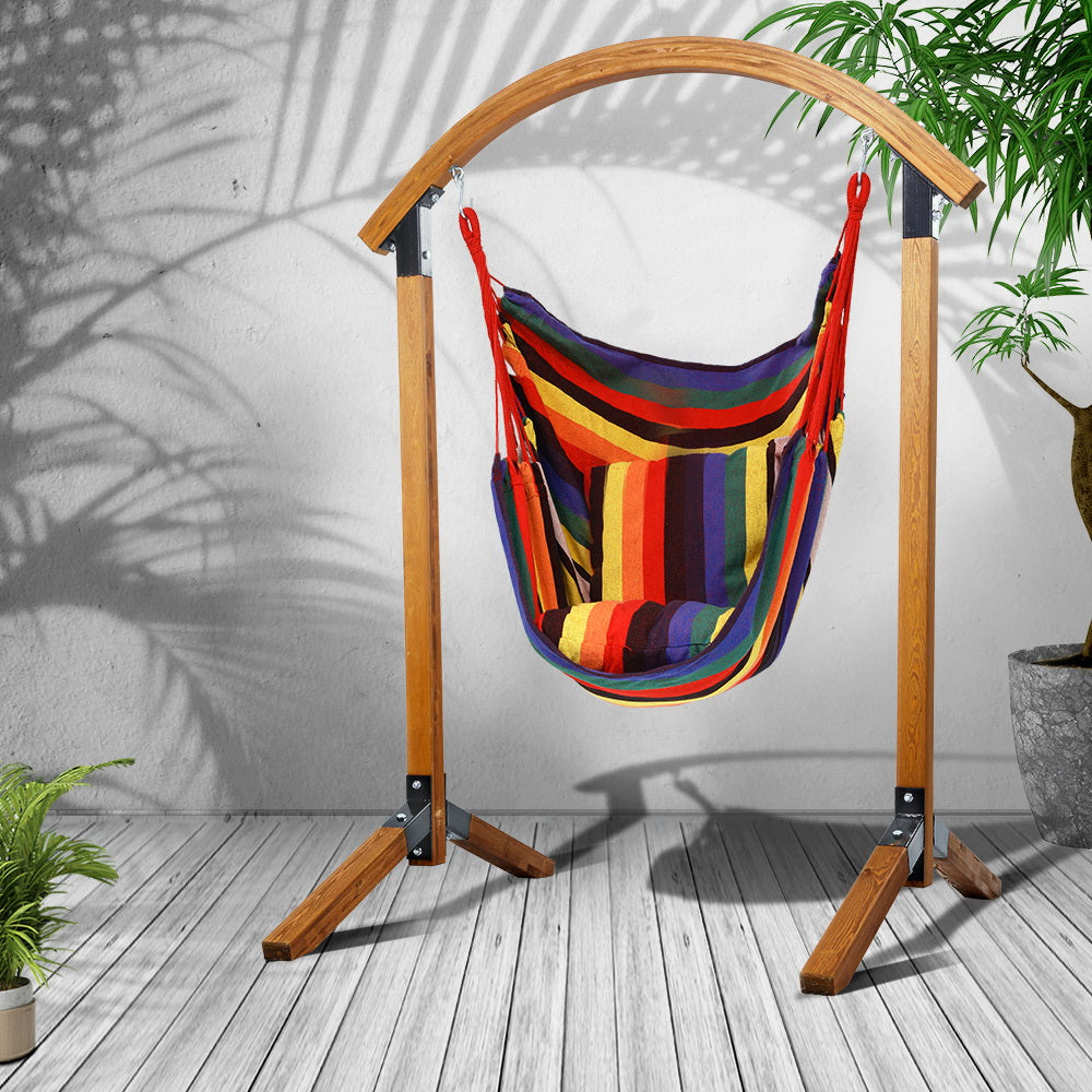 Gardeon Outdoor Swing Chair Timber Hammock Pillow Patio Wooden Bench Furniture