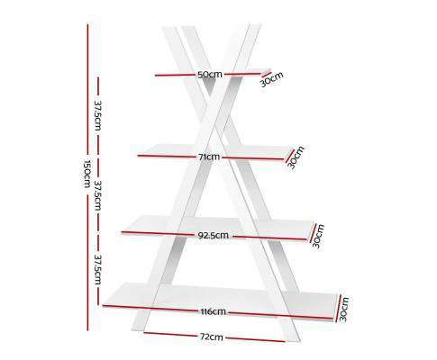 Artiss 4 Tier X Shape Ladder Shelf Display Book Shelves 150cm White