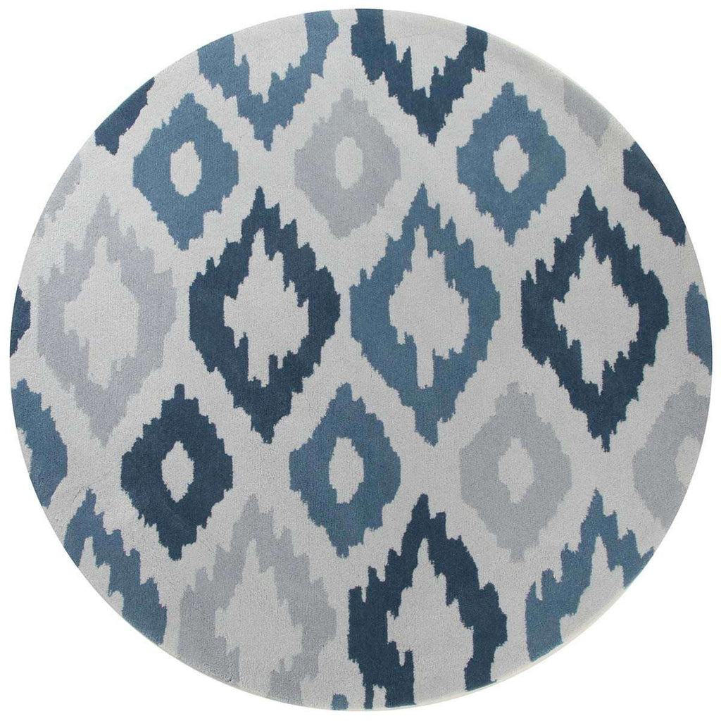 Gold Collection 627 Blue Round Rug