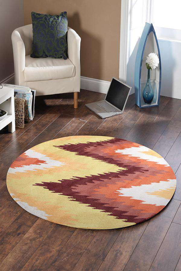 Gold Collection 630 Rust Round Rug
