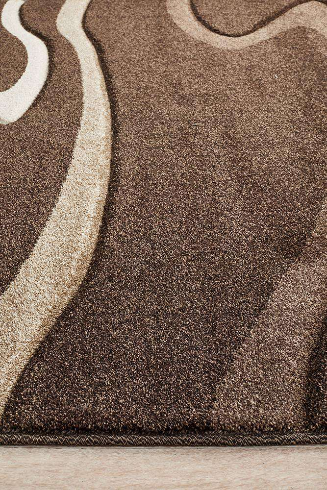 Icon Modern Swirls Rug Dark Brown