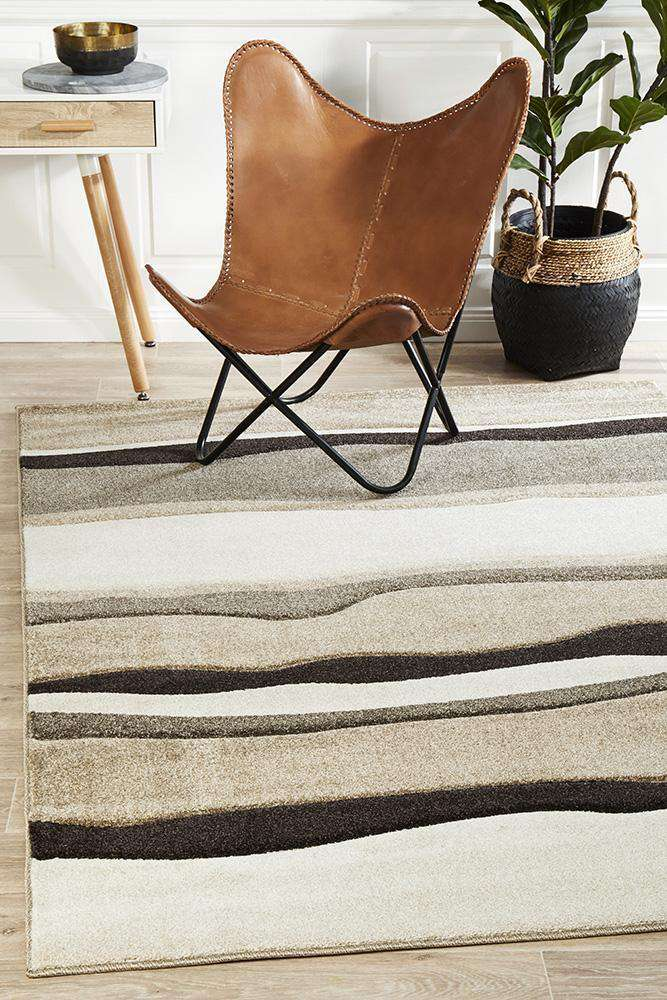 Icon Modern Thick Wave Rug Beige Brown