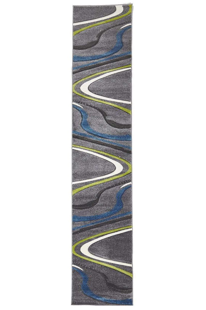 Icon Ultra Modern Swirl Rug Grey Blue Green