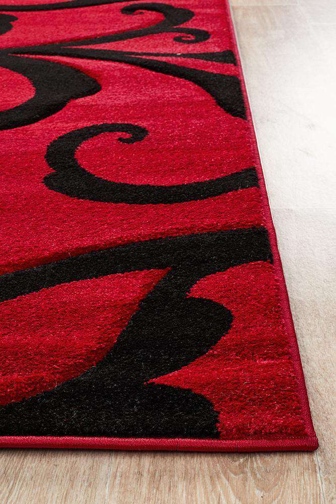 Icon Stunning Thick Damask Rug Red