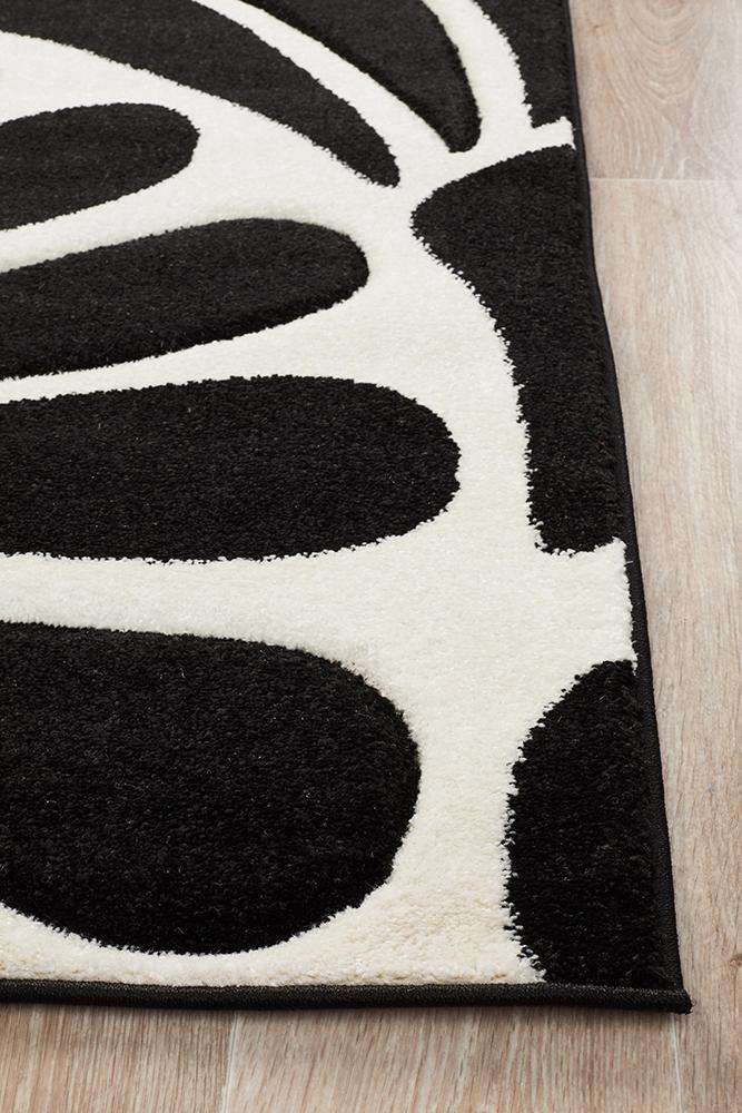 Icon Damask Modern Fern Rug Black White