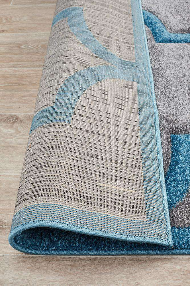 Icon Large Modern Trellis Rug Grey Blue
