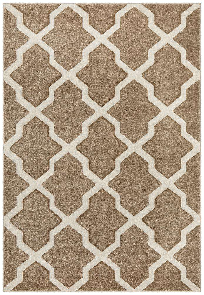 Icon Cross Hatch Modern Rug Beige