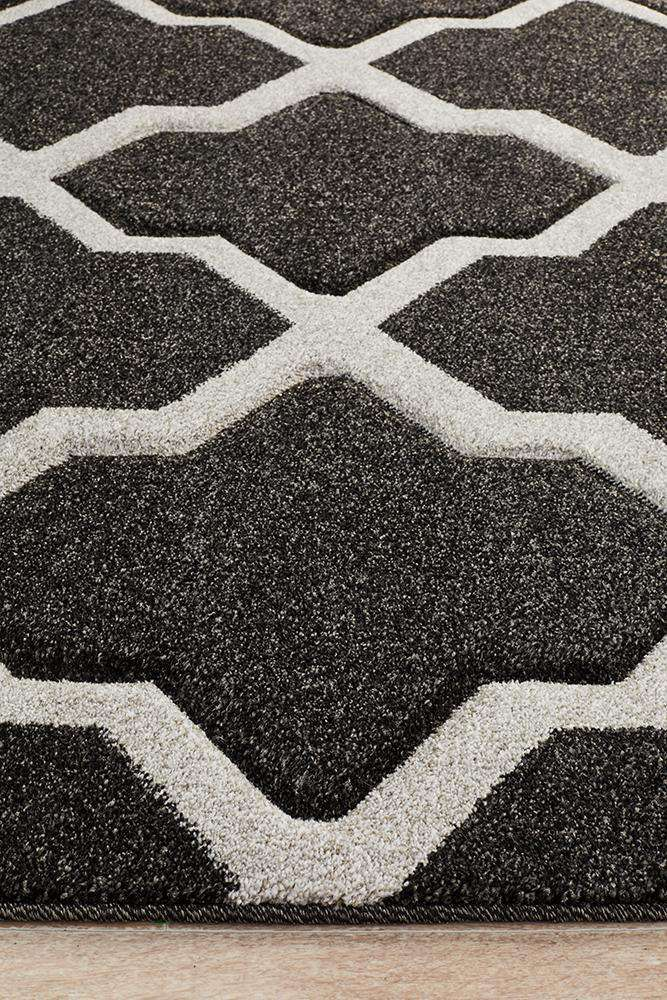 Icon Cross Hatch Modern Rug Charcoal