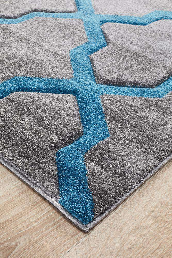 Icon Cross Hatch Modern Rug Grey