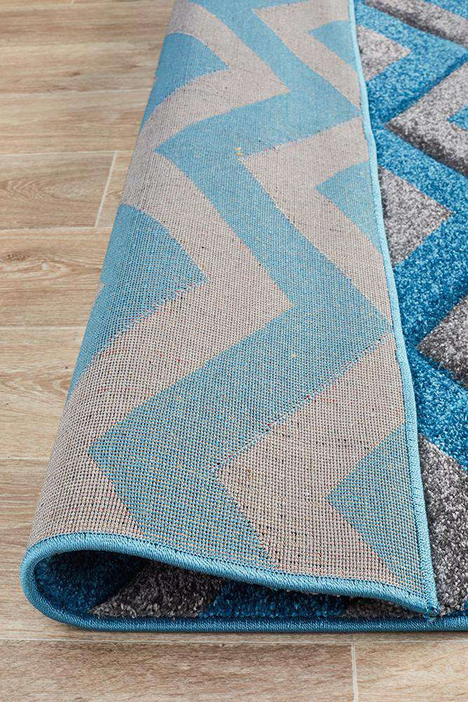Icon Modern Chevron Design Rug Blue Grey