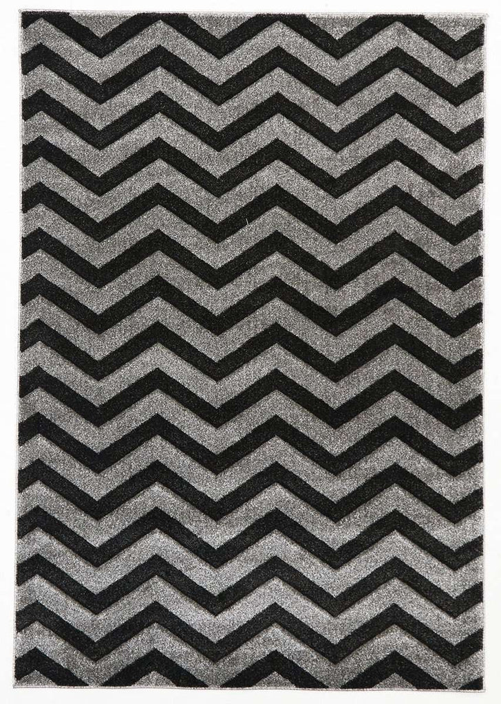 Icon Modern Chevron Design Rug Charcoal