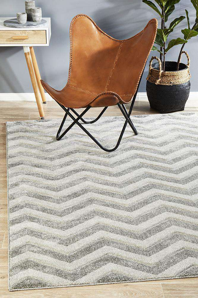 Icon Modern Chevron Design Rug Silver