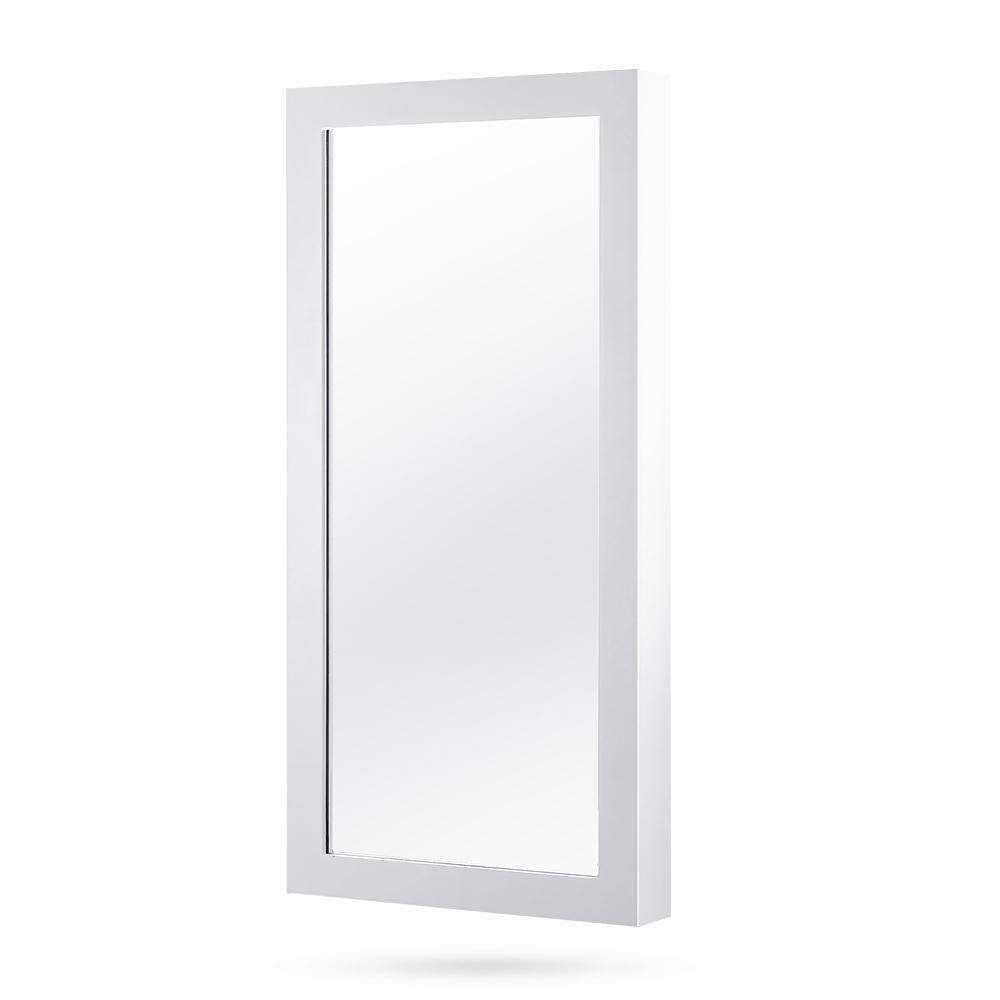 Wall Mount Jewellery Cabinet w/ Mirror White - Desirable Home Living