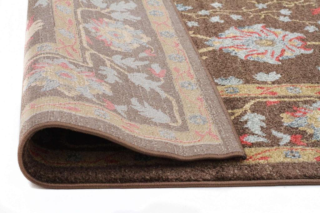 Jewel Nain Design 804 Brown Red Runner Rug