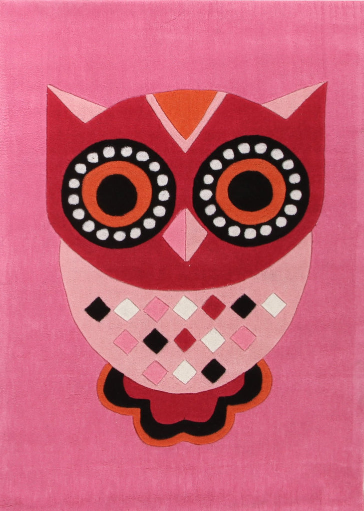 Gorgeous Pink Owl Kids Rug
