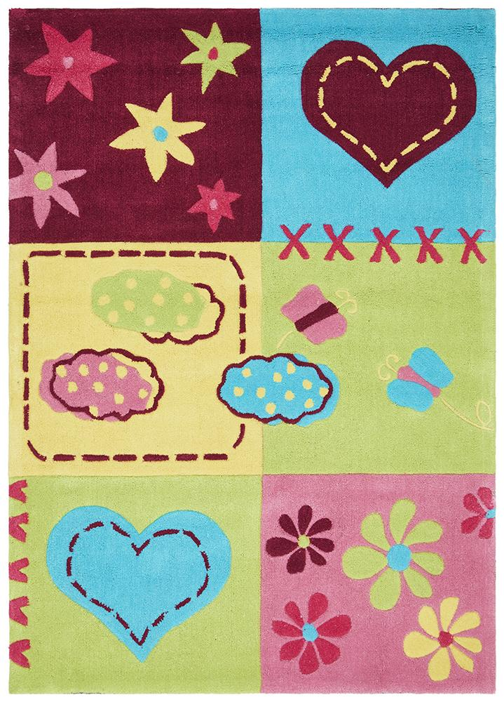 Cute Bright Childers Heart Rug Green Pink