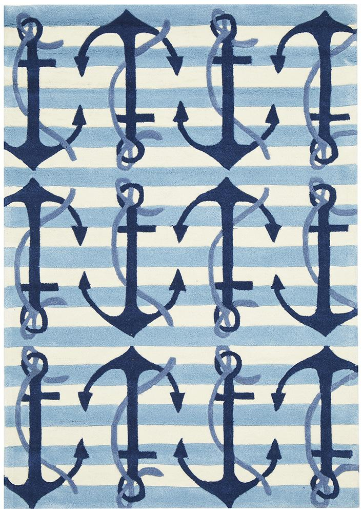 Nautical Anchors Rug Blue White