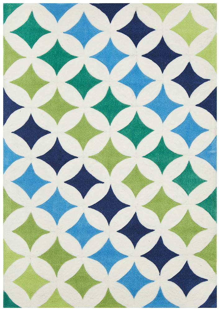 Modern Diamonds Rug Blue Green