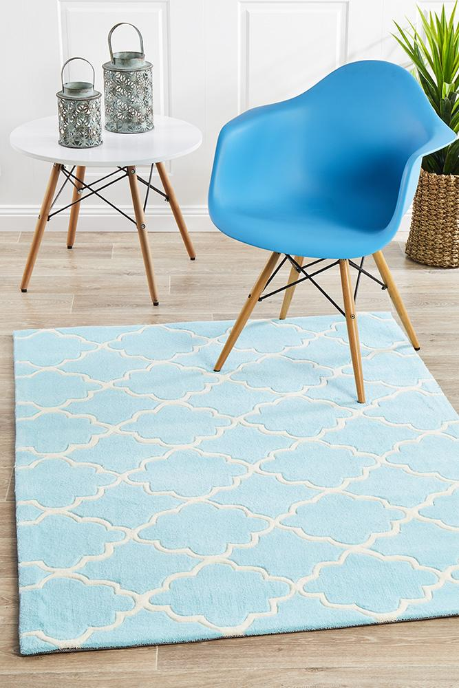 Kids Trellis Design Rug Soft Blue