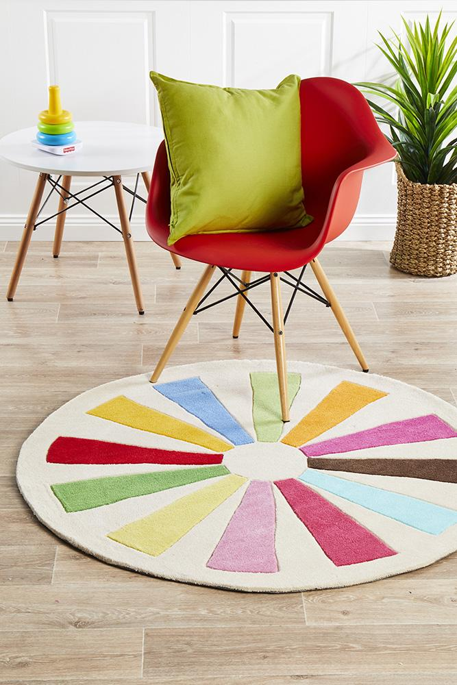 Multi Wheeled Kids Round Rug