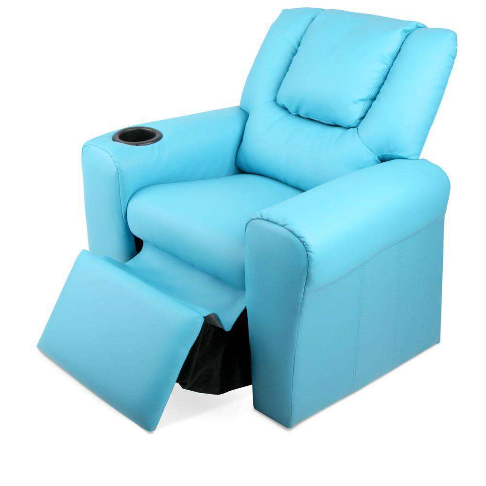 Kids Padded PU Leather Recliner Chair  - Blue - Desirable Home Living