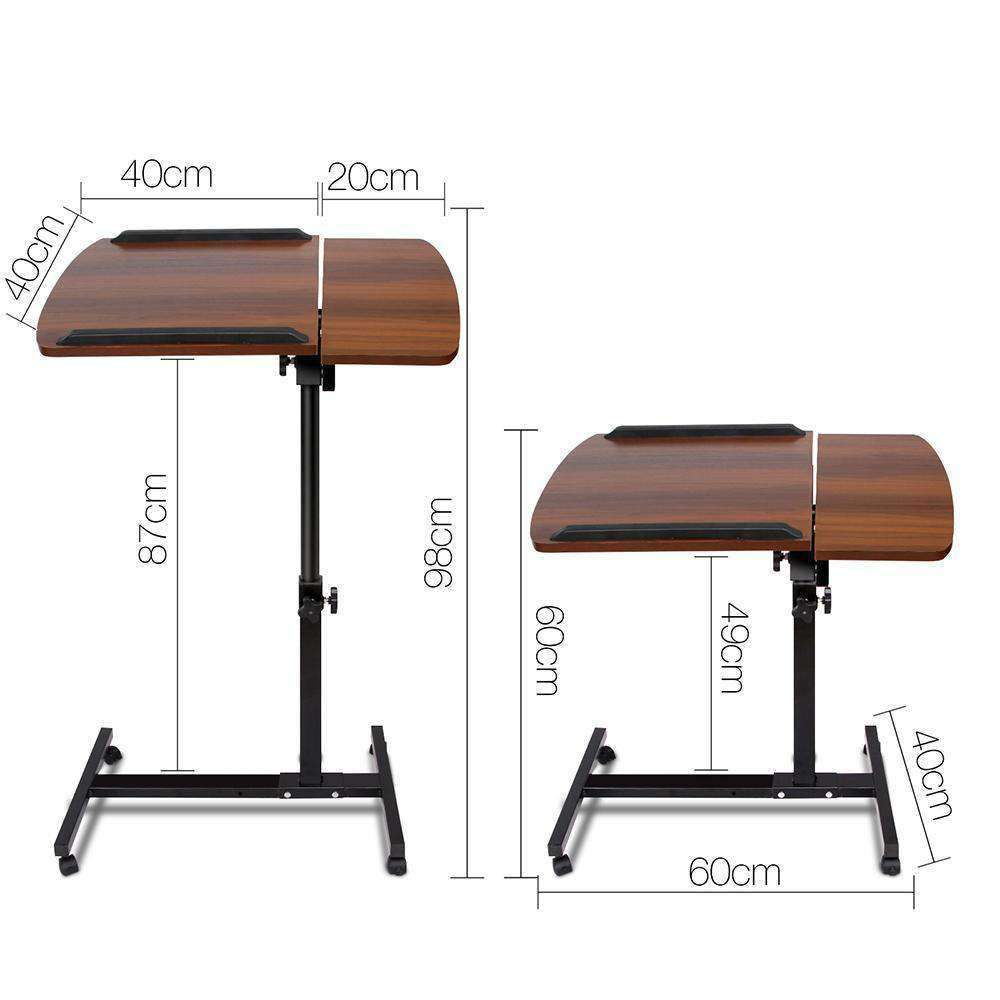 Rotating Mobile Laptop Adjustable Desk Walnut - Desirable Home Living