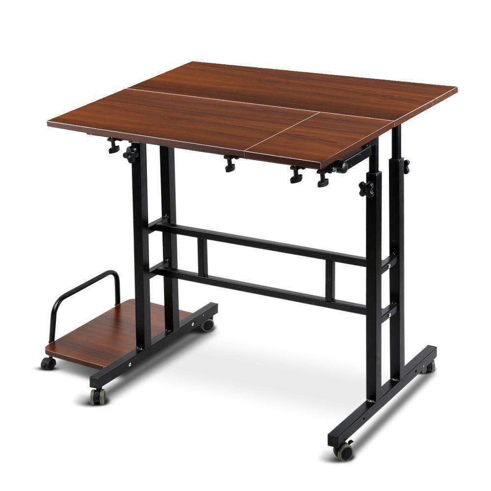 Mobile Twin Laptop Desk Dark Wood - Desirable Home Living
