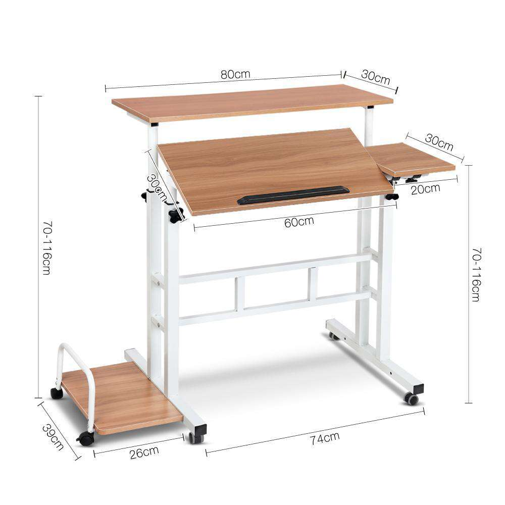 Mobile Twin Laptop Desk Light Wood - Desirable Home Living