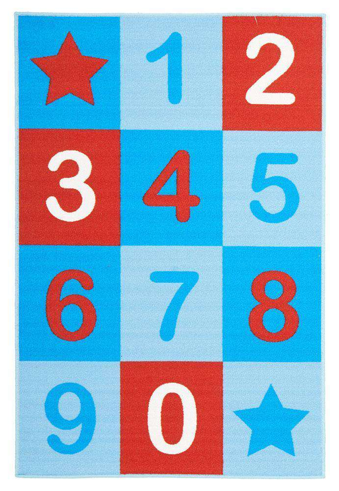 Kids Non Slip Numbers Rug Blue