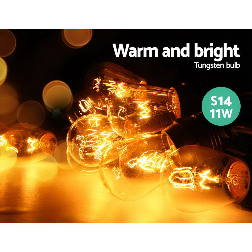 Jingle Jollys Festoon String Lights Christmas Bulbs 56m
