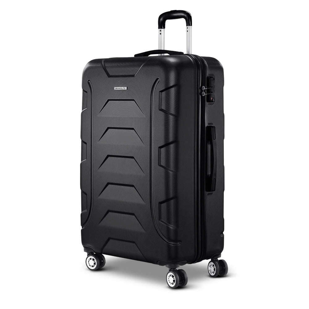 Wanderlite 28 Luggage Sets Suitcase Trolley Travel Hard Case Lightweight Black""