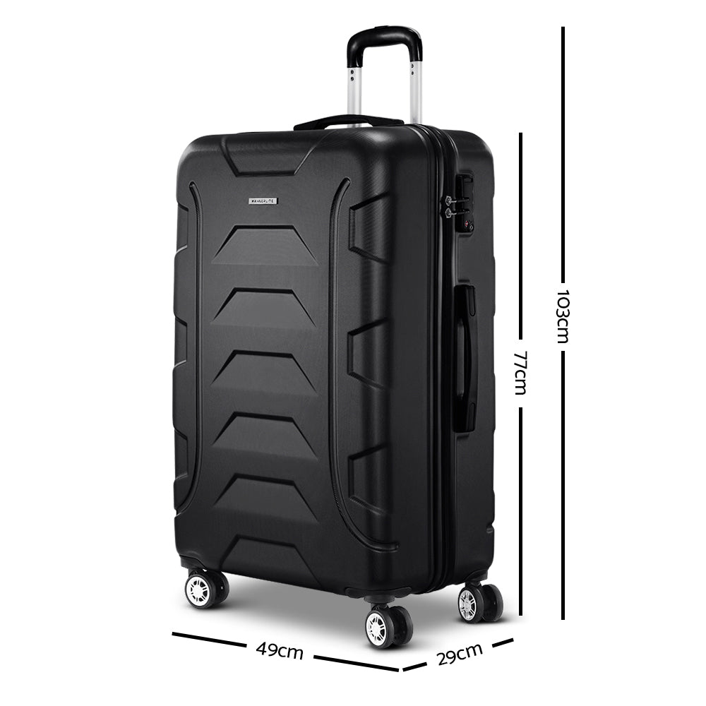 "Wanderlite 28"" Luggage Sets Suitcase Trolley Travel Hard Case Lightweight Black"