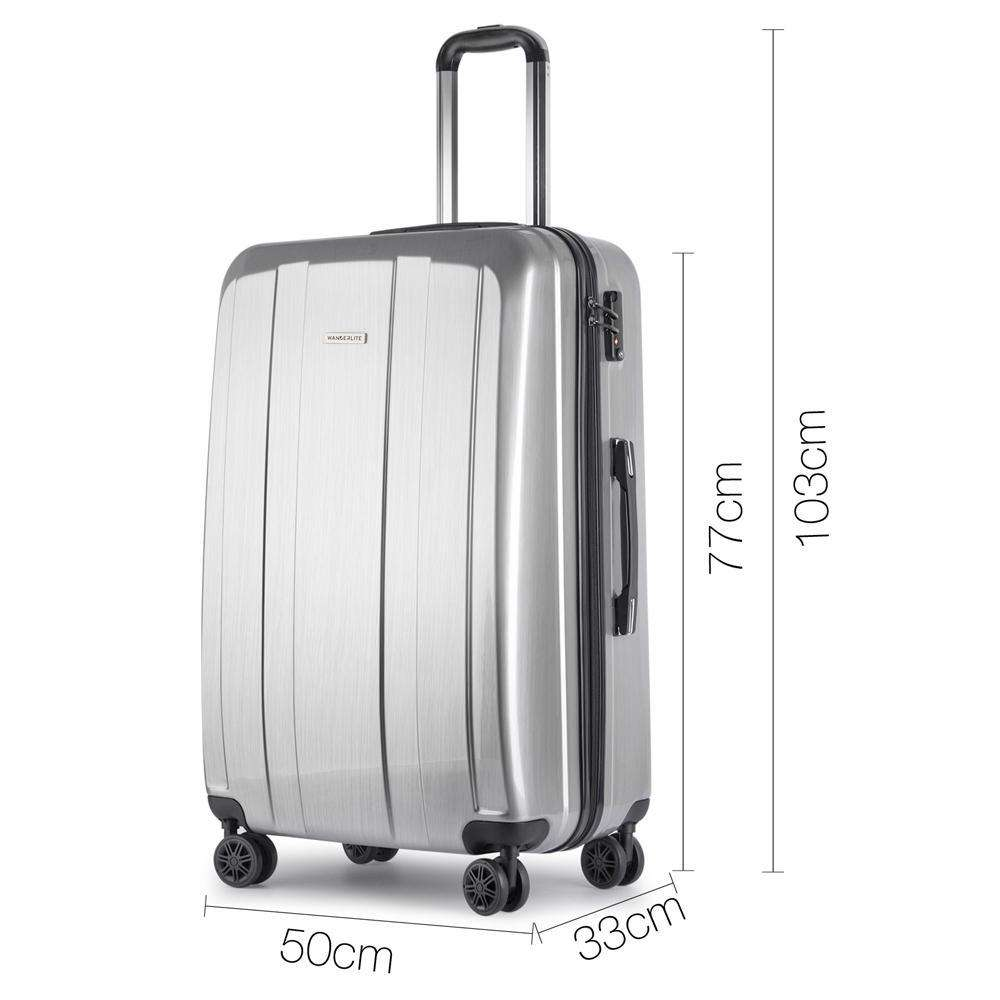 Hard Shell Travel Luggage with TSA Lock Silver - Desirable Home Living